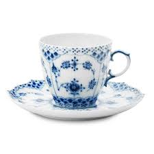 blue fluted lace teacup saucer royal copenhagen horne