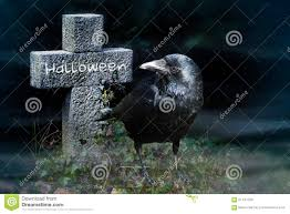 crow and stone cross on the graveyard at night halloween stock