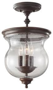 Glass Flush Mount Ceiling Light 3 Light Clear Seeded Glass Semi Flush Mount Heritage Bronze