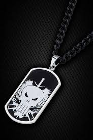 steel dog tag necklace images Stainless steel punisher skull dog tag pendant with 24 quot chain jpg