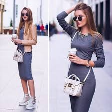 2015 summer fall gray bodycon women pencil casual knitted cotton