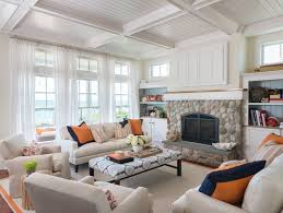 Current Home Design Trends 2016 Beach House Chic With Linen Drapery Sheers Stone Fireplace With