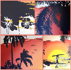 wall mural drama part 4 surfing sunset burlap denimburlap denim diy airbrush sunset surfing mural