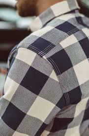 moto utility shirt in natural u0026 navy buffalo plaid
