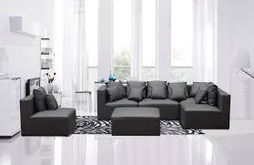 Modern Leather Sectional Sofas Casa 206 Modern Grey Bonded Leather Sectional Sofa