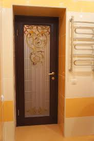 stained glass interior door door with a large stained glass for bathroom