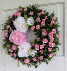 pink and white peony wreath pink wreath boxwood wreath