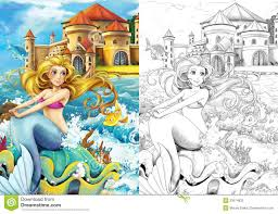 the ocean and the mermaids coloring page stock photography