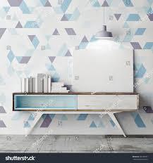 mock poster on decorative geometric wall stock illustration