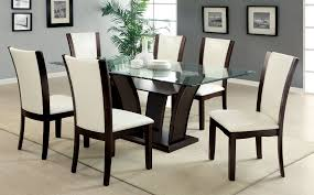 Black And Cherry Wood Dining Chairs Malik 7 Pc Dining Set