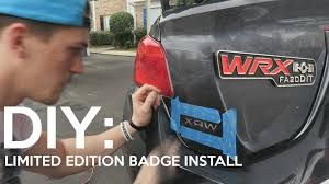 wrx subaru logo 2015 subaru wrx limited edition wrx badge diy install youtube