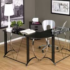 furniture clear glass l shaped computer desks with black iron