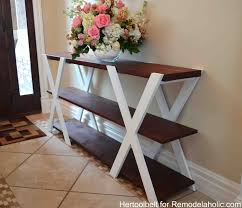Diy Table Plans Free by Remodelaholic Diy Double X Console Table