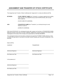 assignment and transfer of stock certificate template u0026 sample