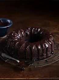 chocolate and guinness bundt cake with chocolate ganache dish