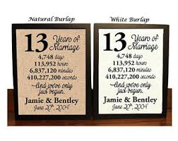 13th wedding anniversary gift ideas 13th anniversary etsy
