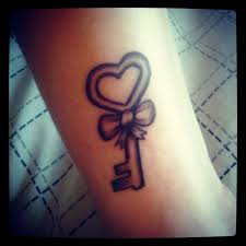 34 awesome key with ribbon tattoos