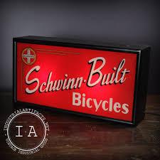 vintage schwinn built bicycles painted glass advertising sign