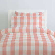 Pale Pink Duvet Cover Light Coral And Peach Buffalo Check Duvet Cover Carousel Designs