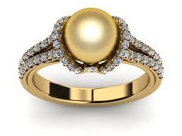 golden pearl rings images 14k yellow gold diamond golden pearl diamond ribbon ring jpg