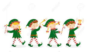 christmas elves 15278137 four christmas elves carrying a white banner for your