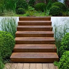 stufen treppe cortenstahl treppe 2 stufen gartengrill garden