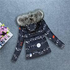 cute jacket pattern winter jacket women parkas cotton fur collar cute glasses print
