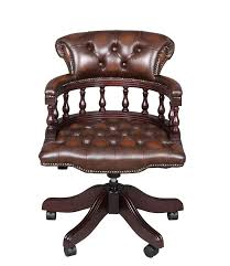 Antique Captains Chair Captains Style Leather Swivel Desk Chair
