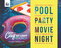 pool party invitations free pool party hoyt park city of light church