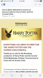 ticketmaster verified fan harry potter so you got a harry potter code now what miles per day