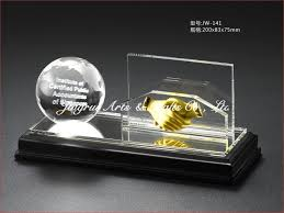 Gifts For Office Desk Crystal Business Globe Handshake Name Card Holder Gifts Office