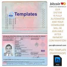 fully editable croatia passport psd template