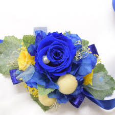 royal blue corsage wrist corsage wc25 royal blue and yellow endura flora