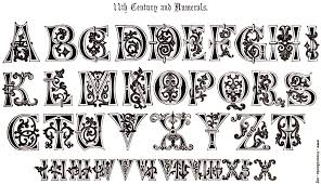 7 11th century and numerals ornamental alphabets ancient and