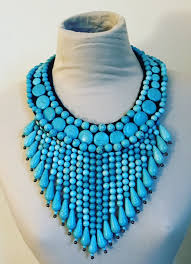 blue bib necklace images Turquoise beaded bib necklace camellia taylor PNG