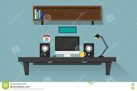 personal computer desk stock vector image 71469257