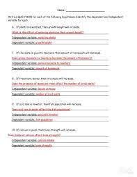 science hypothesis worksheet worksheets