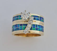 Opal Wedding Ring Sets by Diamond And Lab Opal Wedding Set