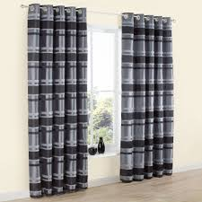 Black And Grey Curtains Dill Black Grey Striped Faux Silk Eyelet Lined Curtains W 228