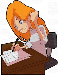 brown writing paper a triumphant woman writing on sheets of paper at work cartoon a triumphant woman writing on sheets of paper at work