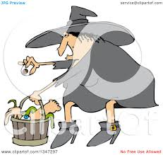 clipart of a cartoon chubby warty halloween witch puting an