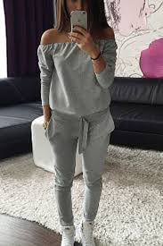 casual jumpsuit gray shoulder sleeve casual jumpsuit rompers and