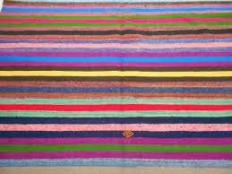 Lilac Rug Handwoven Vintage Colourful Striped Turkish Rag Rug 0151