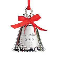 personalized silver bell ornament engraved kimball
