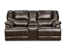 Brown Leather Recliner Sofa Simmons Upholstery Bentley Power Motion Console Loveseat Bingo Brown