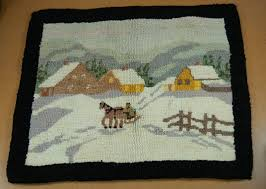 saylor indoor outdoor rug via ballard designs rugs pinterest grenfell pictorial hooked rug with dog sled scene grenfell rare miniature antique newfoundland grenfell hooked rug mat winter scene