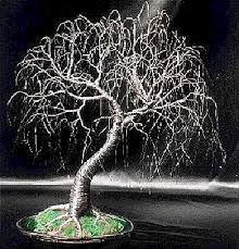exposed roots wire tree weeping willow glass base
