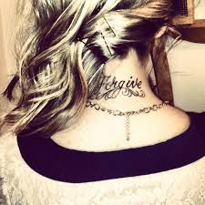 simple forgive tattoo on the back of neck ink and others