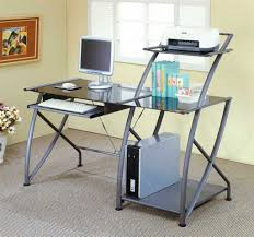 Home Office Furniture L Shaped Desk Glass Computer Desk With Shelves Real Wood Home Office Furniture