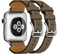 bracelet leather watches images Genuine leather double buckle cuff band for apple watch 42mm 38mm jpg